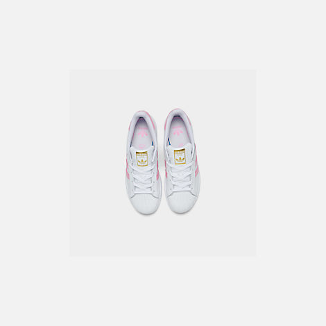 Back view of Girls' Little Kids' adidas Superstar Casual Shoes in White/Pink
