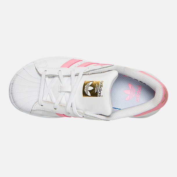Top view of Girls' Little Kids' adidas Superstar Casual Shoes in White/Pink