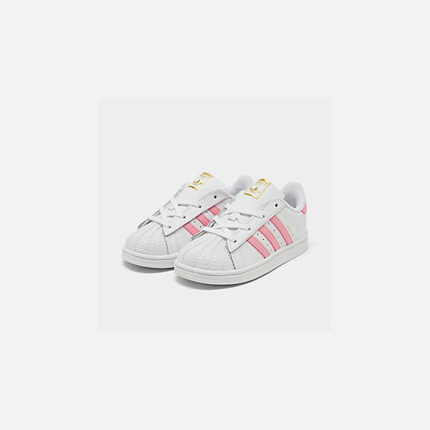 Three Quarter view of Girls' Toddler adidas Superstar Casual Shoes in White/Pink