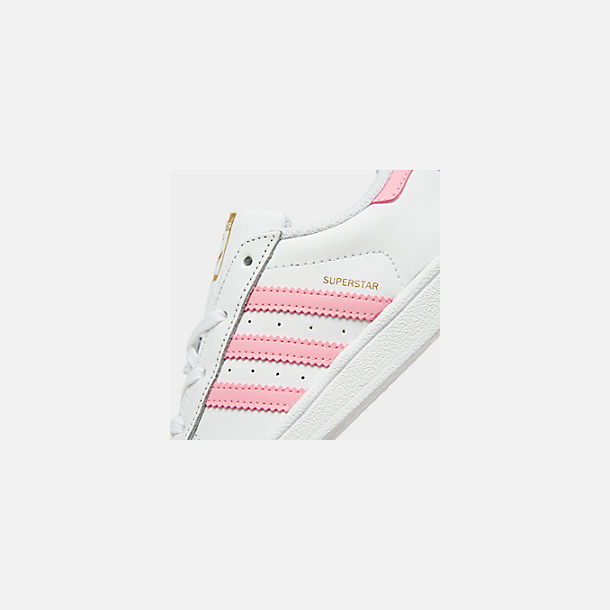 Front view of Girls' Toddler adidas Superstar Casual Shoes in White/Pink