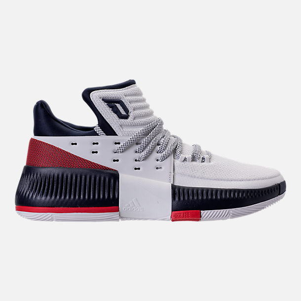 Right view of Men's adidas Dame 3 Basketball Shoes in White/Navy/Scarlet