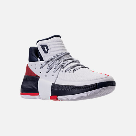Three Quarter view of Men's adidas Dame 3 Basketball Shoes in White/Navy/Scarlet