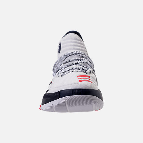 Front view of Men's adidas Dame 3 Basketball Shoes in White/Navy/Scarlet