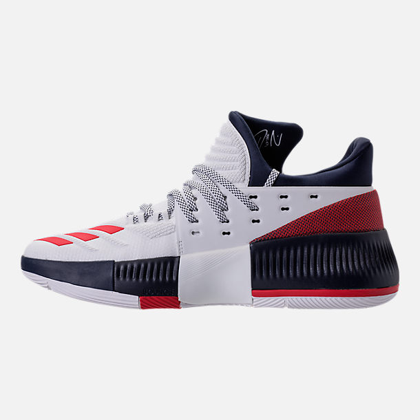 Left view of Men's adidas Dame 3 Basketball Shoes in White/Navy/Scarlet