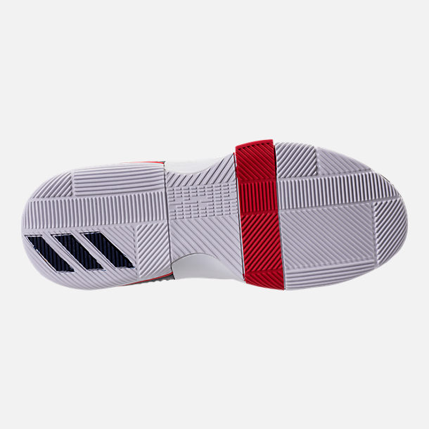 Bottom view of Men's adidas Dame 3 Basketball Shoes in White/Navy/Scarlet