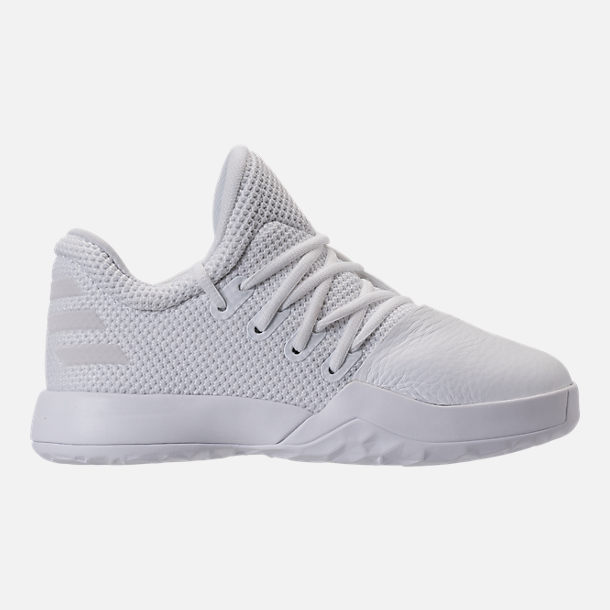 Right view of Boys' Preschool adidas Harden Vol. 1 Basketball Shoes in Footwear White/Legend Ink
