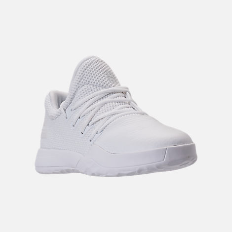 Three Quarter view of Boys' Preschool adidas Harden Vol. 1 Basketball Shoes in Footwear White/Legend Ink