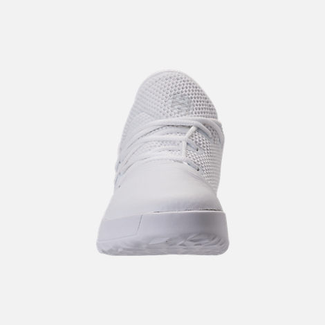 Front view of Boys' Preschool adidas Harden Vol. 1 Basketball Shoes in Footwear White/Legend Ink