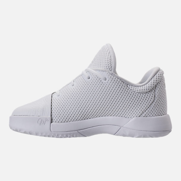 Left view of Boys' Preschool adidas Harden Vol. 1 Basketball Shoes in Footwear White/Legend Ink