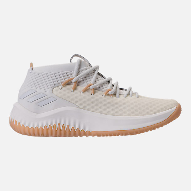 Right view of Mens adidas Dame 4 Basketball Shoes in White Gum