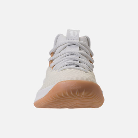 Front view of Men's adidas Dame 4 Basketball Shoes in White/Gum
