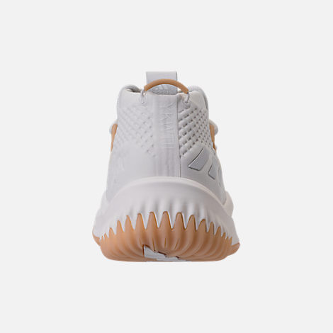 Back view of Men's adidas Dame 4 Basketball Shoes in White/Gum