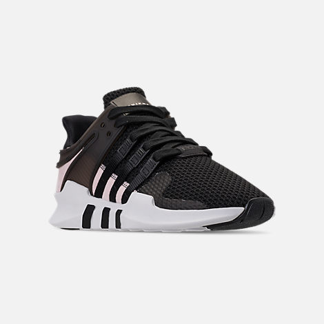 Three Quarter view of Women's adidas EQT Support ADV Casual Shoes in Black/Black/White