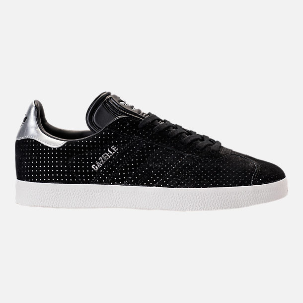 Right view of Women's adidas Gazelle Casual Shoes in Core Black/White/Silver Metallic