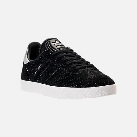 Three Quarter view of Women's adidas Gazelle Casual Shoes in Core Black/White/Silver Metallic