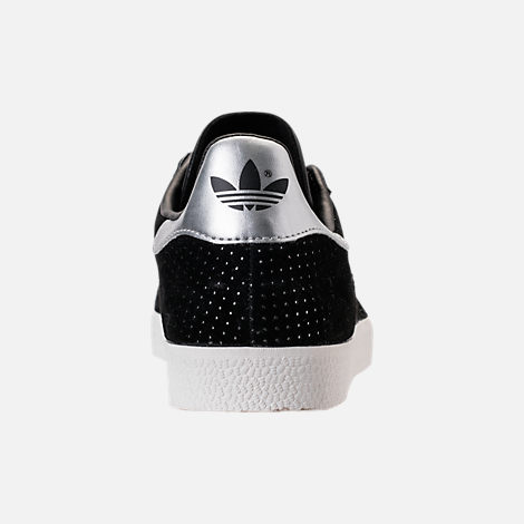 Back view of Women's adidas Gazelle Casual Shoes in Core Black/White/Silver Metallic