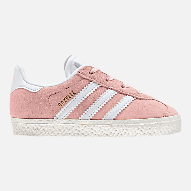 Right view of Girls' Toddler adidas Gazelle Casual Shoes in Ice Pink/White/Gold Metallic