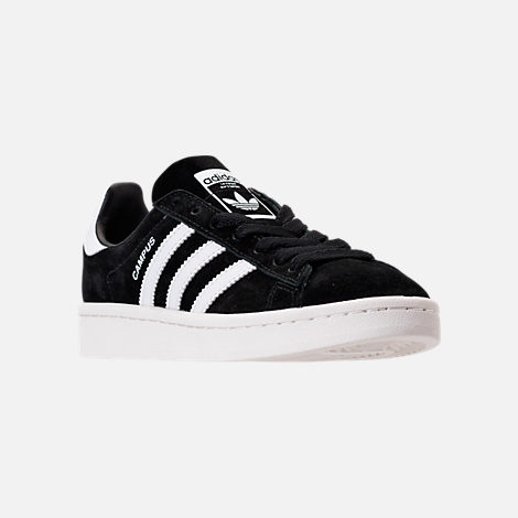 Three Quarter view of Boys' Grade School adidas Campus Casual Shoes in Core Black/White/Chalk White