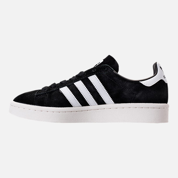 Left view of Boys' Grade School adidas Campus Casual Shoes in Core Black/White/Chalk White