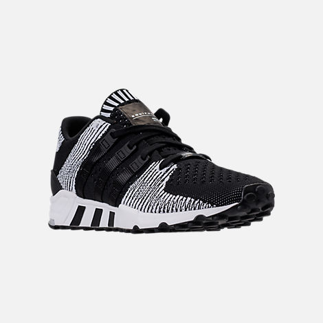 Three Quarter view of Men's adidas EQT Support RF Primeknit Casual Shoes in Core Black/Footwear White