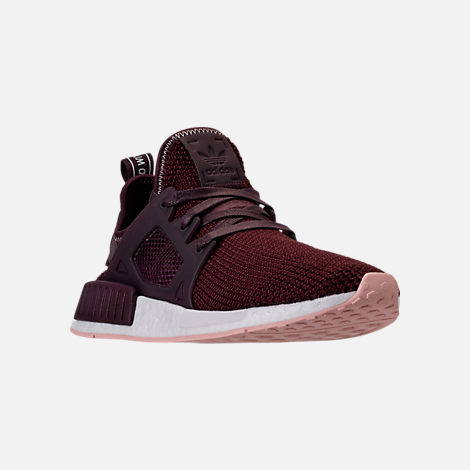 Three Quarter view of Women's adidas NMD XR1 Casual Shoes in Dark Burgundy/Vapour Pink