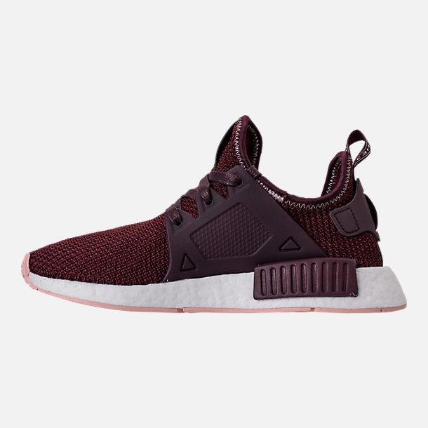 Left view of Women's adidas NMD XR1 Casual Shoes in Dark Burgundy/Vapour Pink