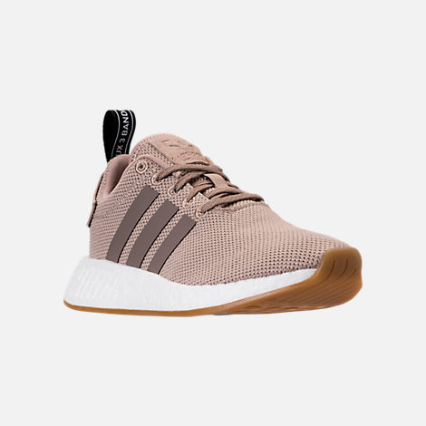 Three Quarter view of Boys' Grade School adidas NMD R2 Casual Shoes in Trace Khaki/White