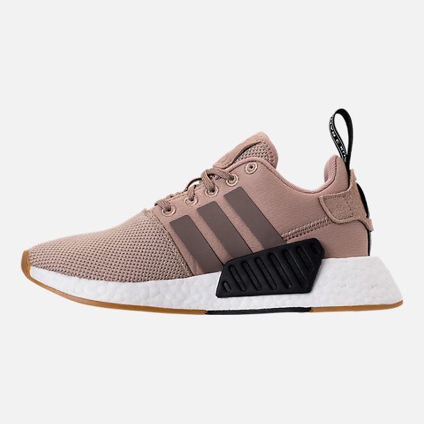 Left view of Boys' Grade School adidas NMD R2 Casual Shoes in Trace Khaki/White