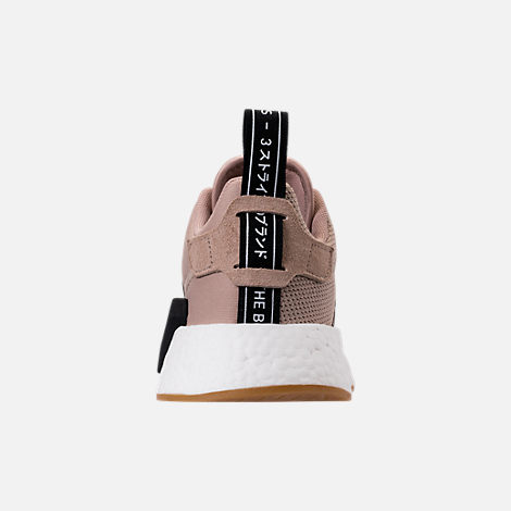 Back view of Boys' Grade School adidas NMD R2 Casual Shoes in Trace Khaki/White