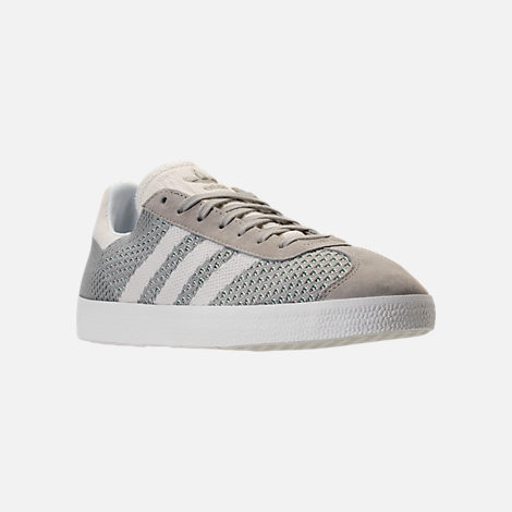 Three Quarter view of Men's adidas Originals Gazelle Primeknit Casual Shoes in Sesame/Off White/Trace Green