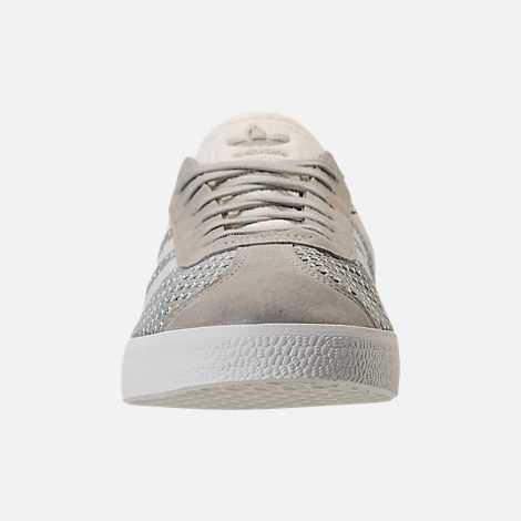 Front view of Men's adidas Originals Gazelle Primeknit Casual Shoes in Sesame/Off White/Trace Green