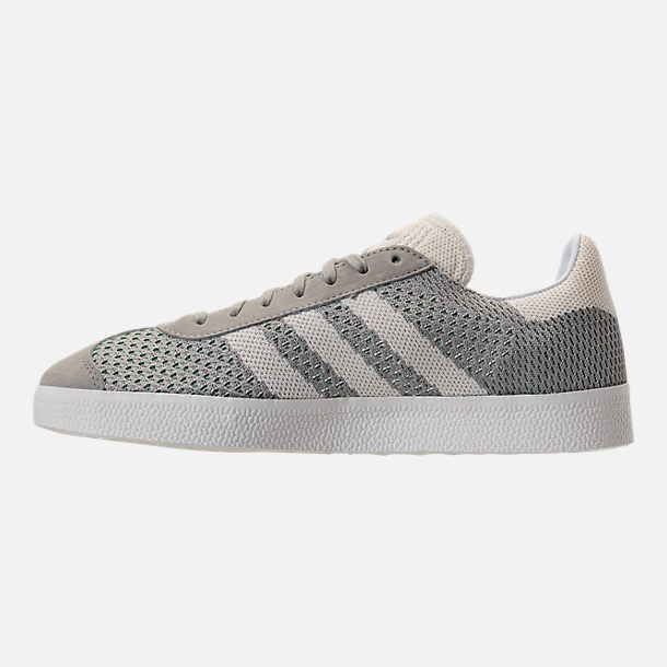 Left view of Men's adidas Originals Gazelle Primeknit Casual Shoes in Sesame/Off White/Trace Green