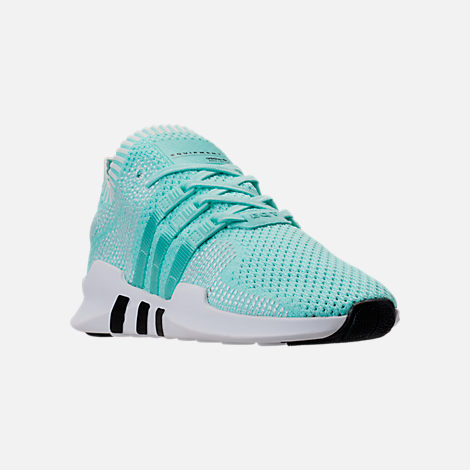 Three Quarter view of Women's adidas EQT Support ADV Primeknit Casual Shoes in Energy Aqua/Core White