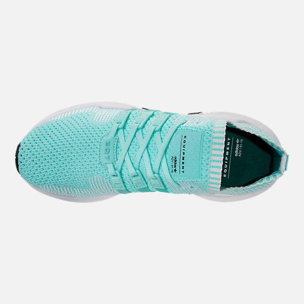 Top view of Women's adidas EQT Support ADV Primeknit Casual Shoes in Energy Aqua/Core White