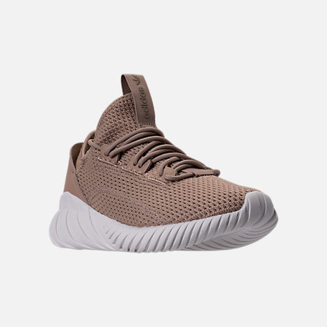 Three Quarter view of Boys' Grade School adidas Tubular Doom Sock Primeknit Casual Shoes in Sesame/Clear Brown