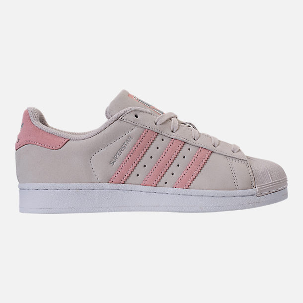 Right view of Girls' Grade School adidas Superstar x Pharrell Williams Supercolor Casual Shoes in Pearl Grey/Icey Pink