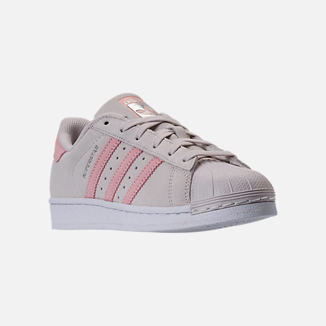 Three Quarter view of Girls' Grade School adidas Superstar x Pharrell Williams Supercolor Casual Shoes in Pearl Grey/Icey Pink