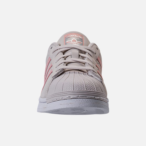 Front view of Girls' Grade School adidas Superstar x Pharrell Williams Supercolor Casual Shoes in Pearl Grey/Icey Pink
