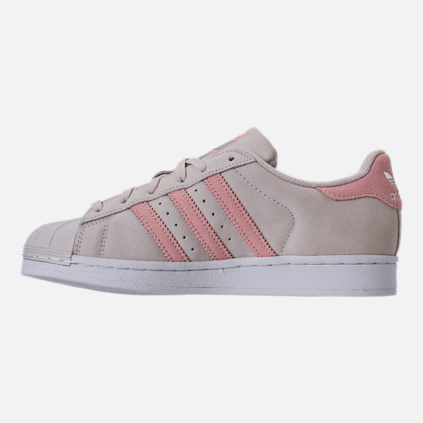 Left view of Girls' Grade School adidas Superstar x Pharrell Williams Supercolor Casual Shoes in Pearl Grey/Icey Pink