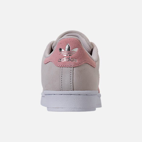 Back view of Girls' Grade School adidas Superstar x Pharrell Williams Supercolor Casual Shoes in Pearl Grey/Icey Pink