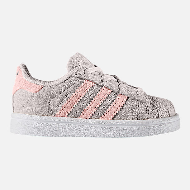 Right view of Girls' Toddler adidas Superstar Casual Shoes in Pearl Grey/Icey Pink