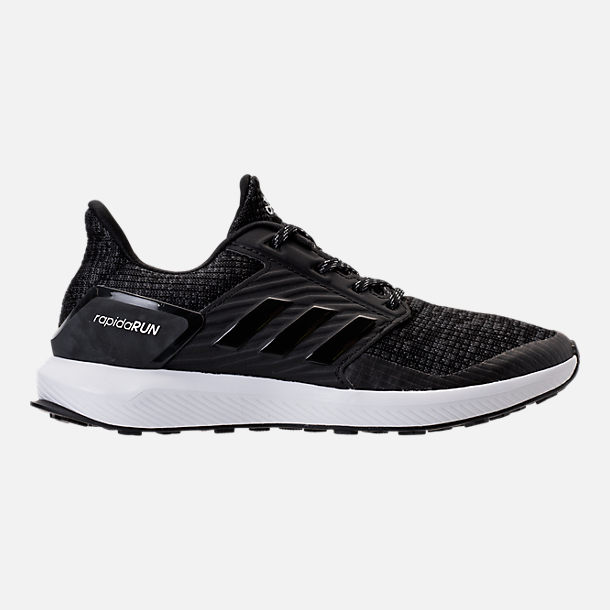 Right view of Boys' Grade School adidas Rapida Run Lux Running Shoes in Black/White