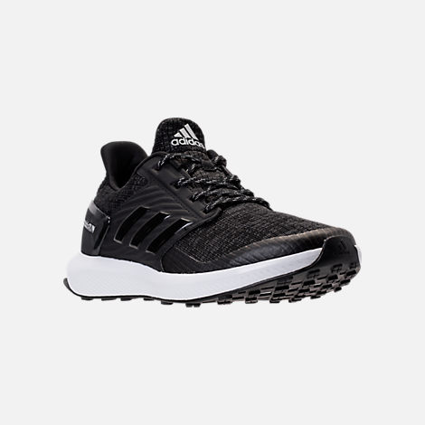 Three Quarter view of Boys' Grade School adidas Rapida Run Lux Running Shoes in Black/White