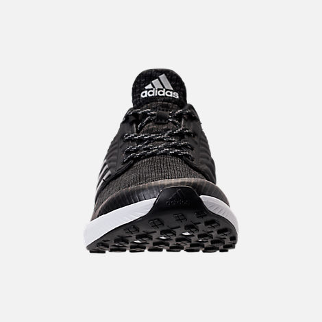 Front view of Boys' Grade School adidas Rapida Run Lux Running Shoes in Black/White