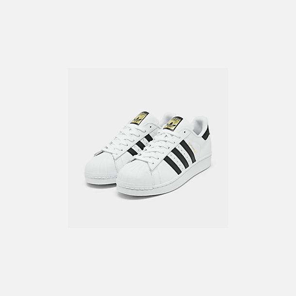 cheap for discount 3ea9a 866bc Three Quarter view of Men s adidas Superstar Casual Shoes in White  Black Gold