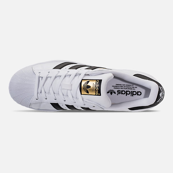 Top view of Men's adidas Superstar Casual Shoes in White/Black/Gold