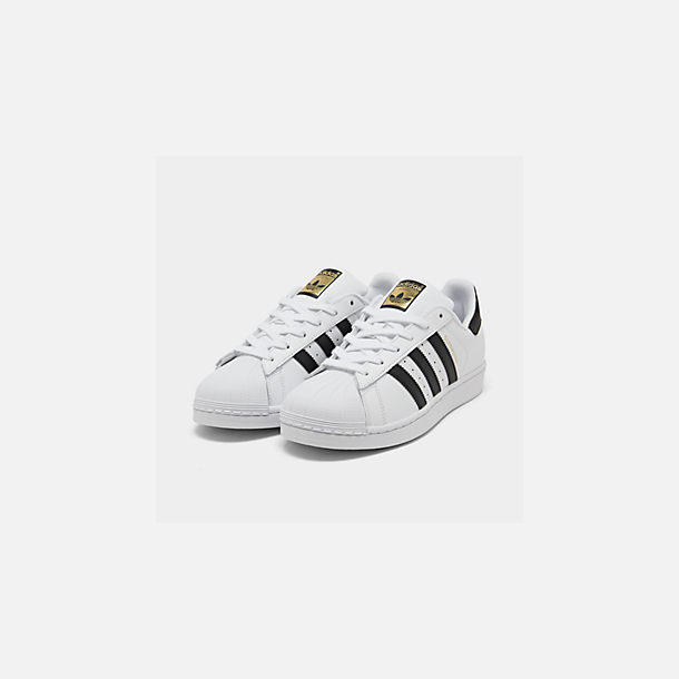 Three Quarter view of Women's adidas Originals Superstar Casual Shoes in White/Black
