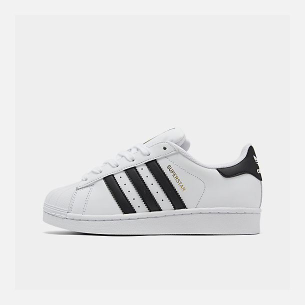 Right view of Big Kids' adidas Superstar Casual Shoes in White/Black/White
