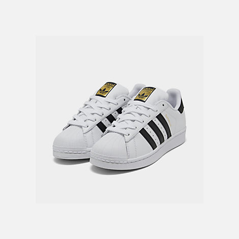 Three Quarter view of Big Kids' adidas Superstar Casual Shoes in White/Black/White