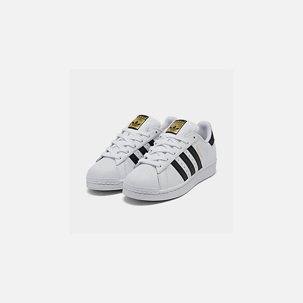 new arrival 8c1e4 0352f Three Quarter view of Big Kids  adidas Superstar Casual Shoes in  White Black